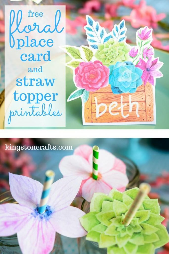 FREE Printables – Floral Place Cards and Straw Toppers - Kingston Crafts