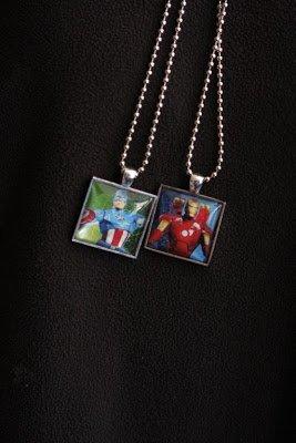 handmade photo necklaces of superheros