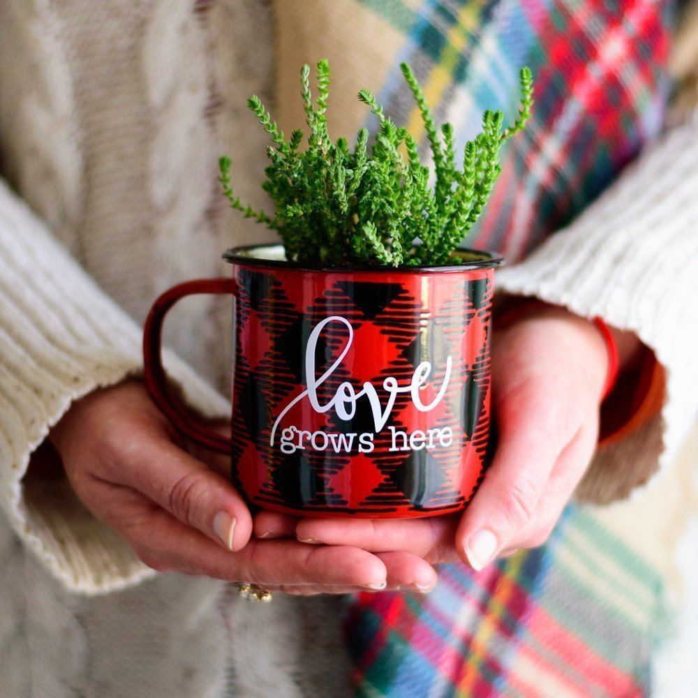 woman holding plant in mug