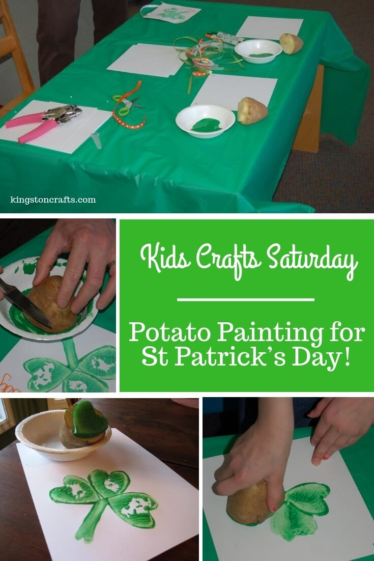 Kids Crafts Saturday – Potato Painting for St Patrick's Day! - The Kingston Home: Looking for a fun and easy St. Patrick's Day craft for the kiddos? Then try some potato painting and create your own four-leaf clover paintings! via @craftykingstons