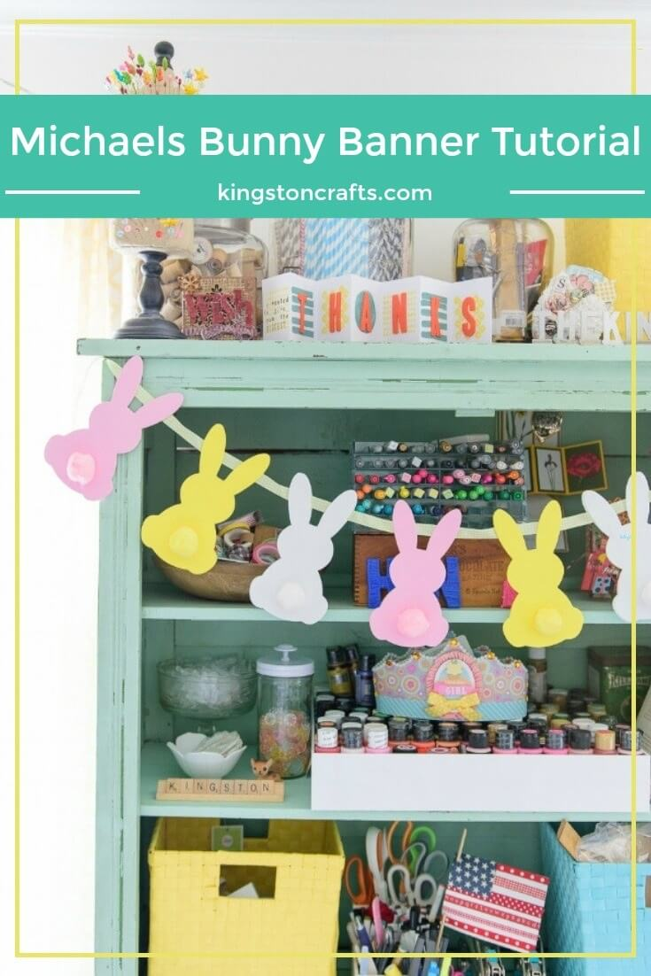 Michaels Bunny Banner Tutorial - The Kingston Home: Learn how to turn foam bunny shapes and a few pom-poms into the perfect Bunny Banner, just in time for Easter! via @craftykingstons