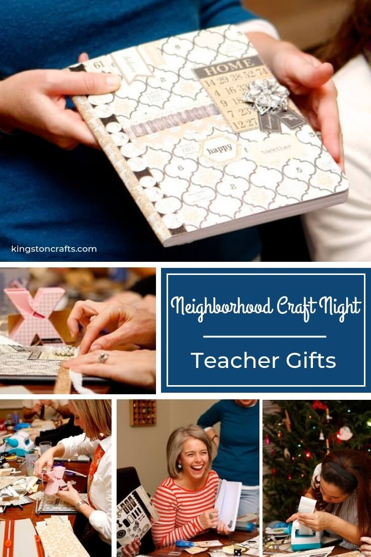 Neighborhood Craft Night – Teacher Gifts - The Kingston Home: Check out another installment of Neightbood Craft Night, where I talk about teacher gifts and show you how to make your very own altered notebook! via @craftykingstons