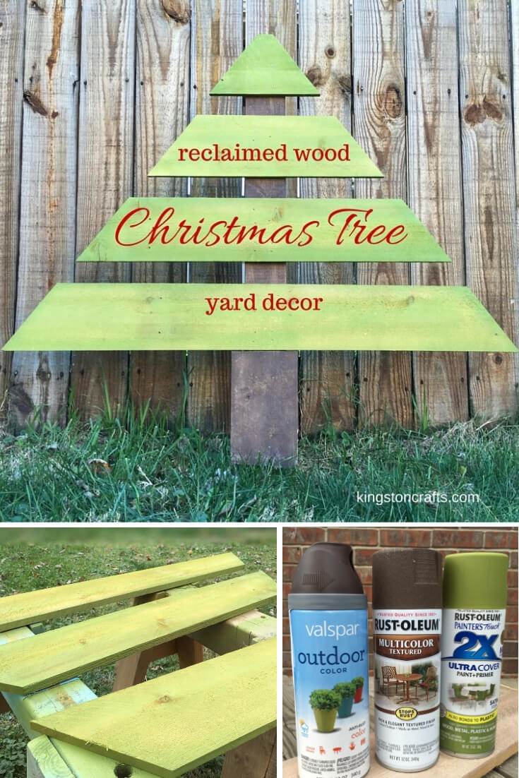 Reclaimed Wood Christmas Tree Yard Decor - The Kingston Home: Add that extra holiday touch to your front yard by turning cedar fence pickets into the perfect Christmas tree! via @craftykingstons