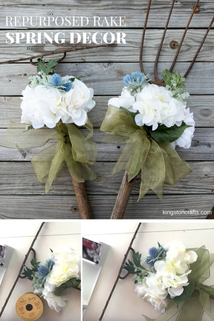 Repurposed Rake Spring Decor - The Kingston Home: With a flower bundle and some ribbon, you can turn any old rake into some fresh looking spring decor for your front porch or home! via @craftykingstons