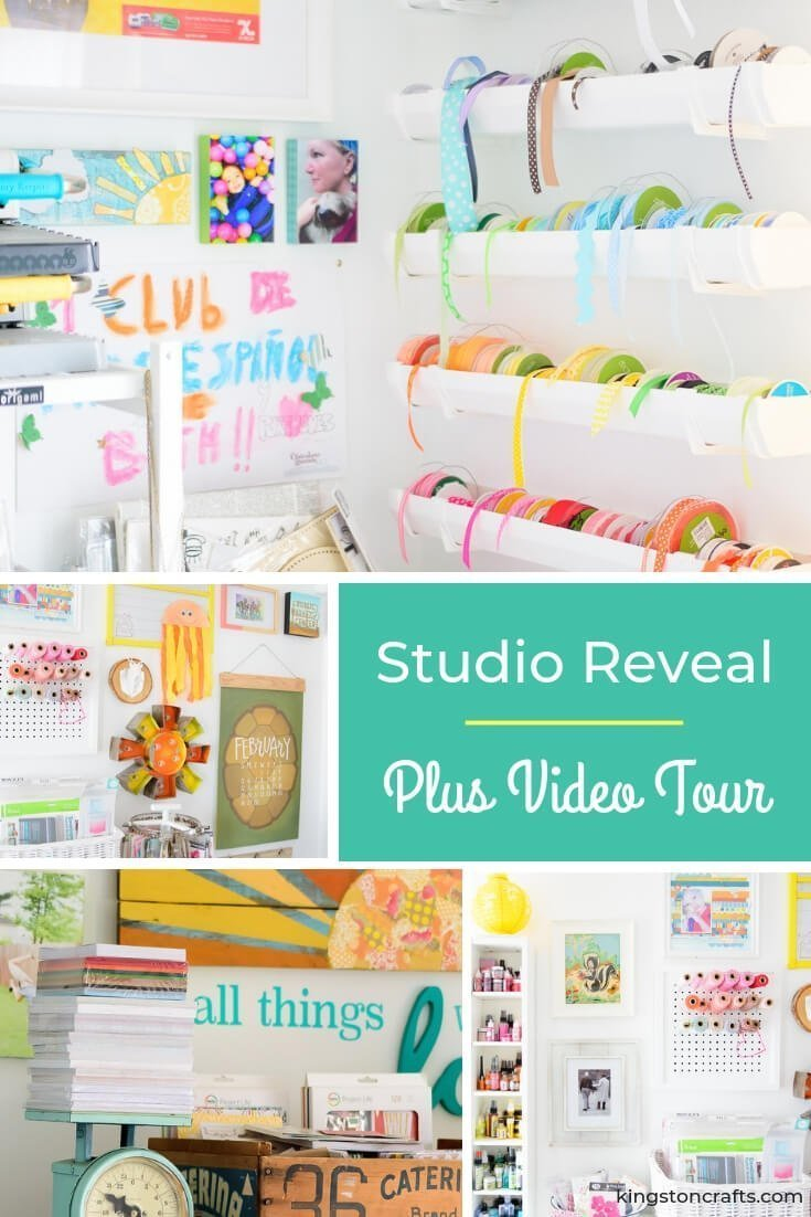 Studio Reveal and Video Tour - The Kingston Home: If you've been hanging out with me the past few months you know I've had a studio makeover in the works. More of a move and a downsize I guess...I willingly gave up my giant 15x30 craft room in the basement for a 13x14 room on our main floor! This girl needed light! And to be near the kitchen. Because that is where all the snacks are. via @craftykingstons