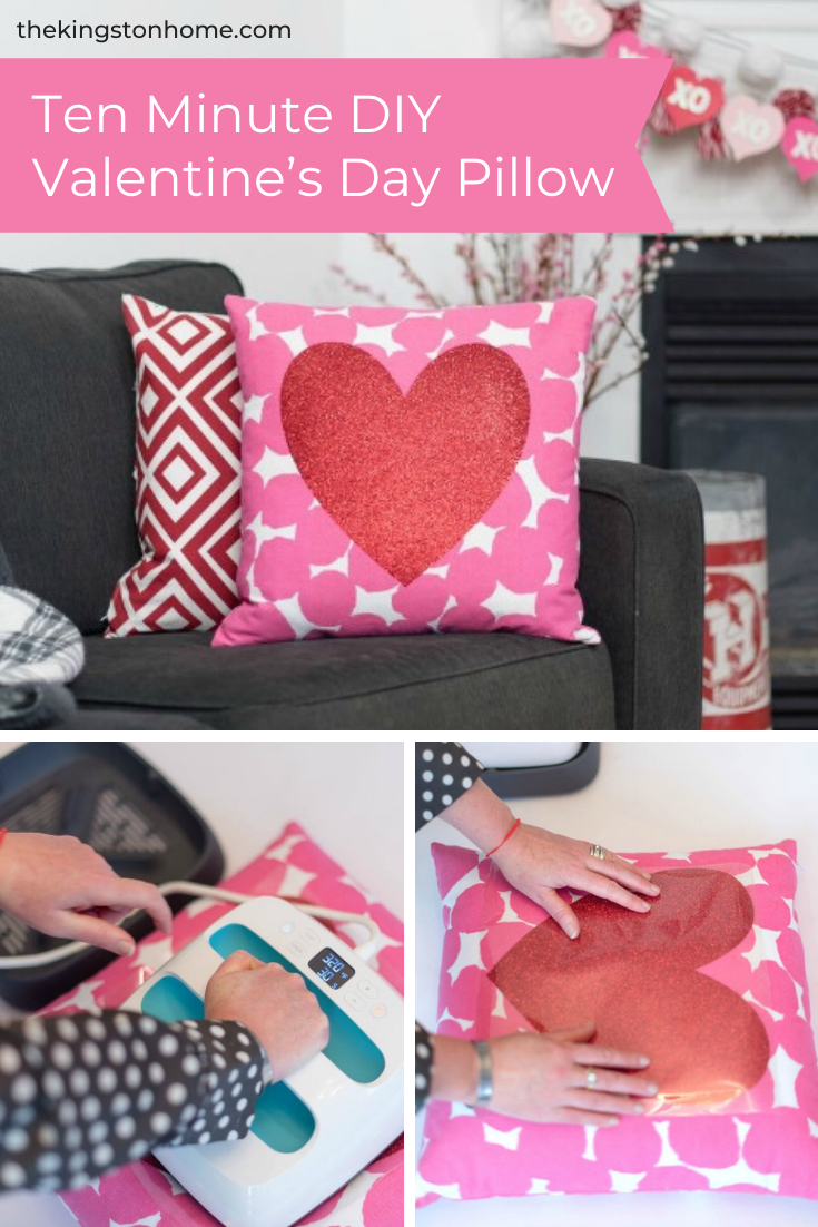 Ten Minute DIY Valentine's Day Pillow - The Kingston Home: Learn how to transform a plain pillow into a custom Valentine's Day pillow, using some glitter iron-on and your Cricut EasyPress! via @craftykingstons