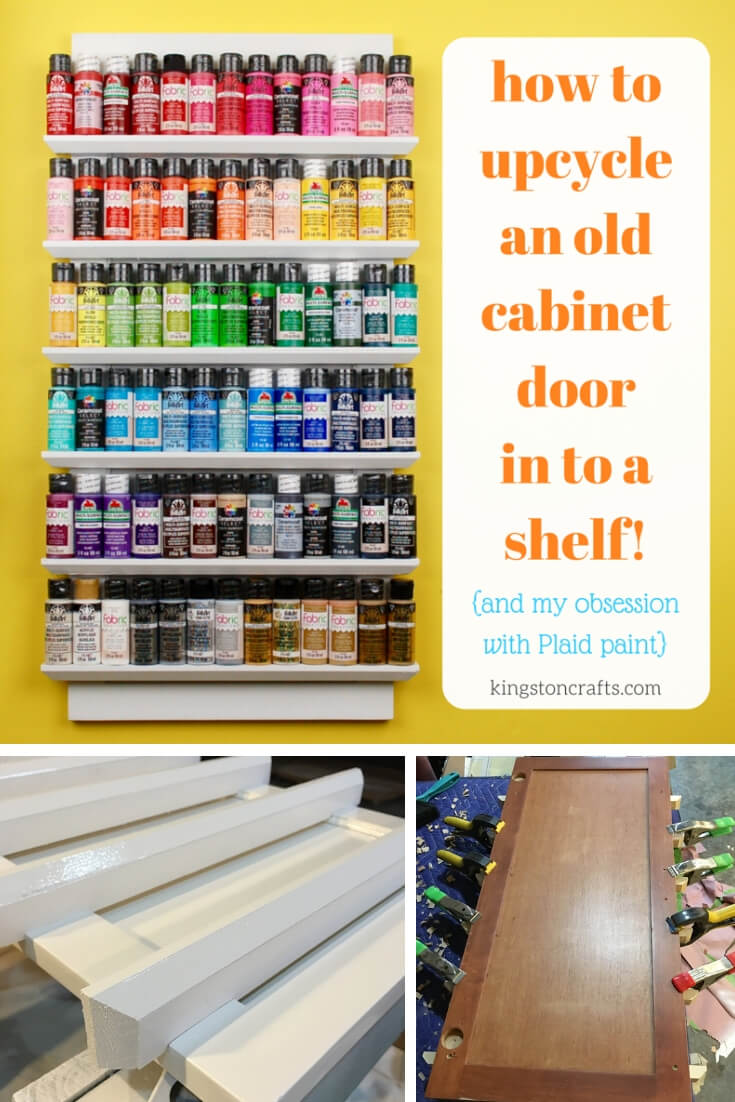 Upcycled Shelf From a Cabinet Door - The Kingston Home: Learn how to turn an old cabinet door into a functional shelf that is perfect for any craft room or office! via @craftykingstons