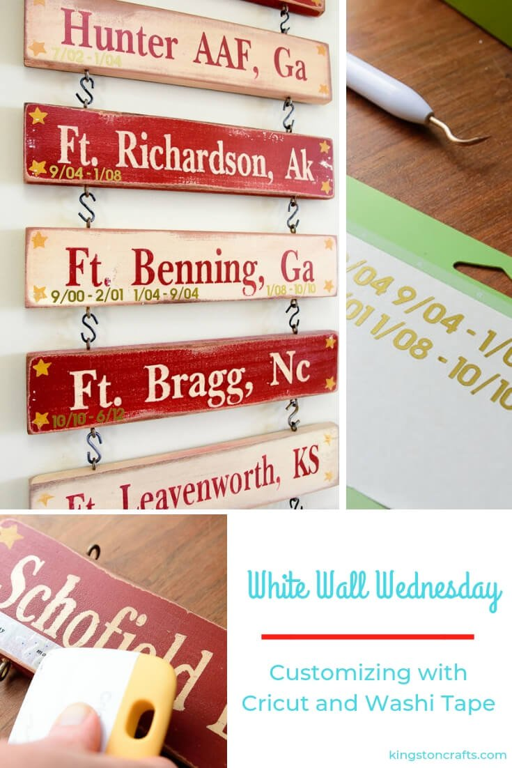 White Walls Wednesday – Customizing with Cricut and Washi Tape - The Kingston Home: White Walls Wednesday is baaaaacck - and today I'm sharing a project that I've been thinking about for YEARS but kept putting off until I got a great little tip about applying intricate vinyl using washi tape. Yep! Washi tape! via @craftykingstons