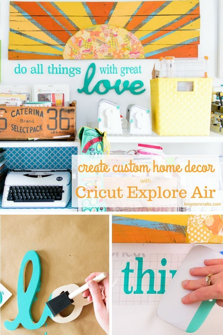 Create Custom Home Decor with Cricut Explore Air - The Kingston Home: Do you have some empty wall space that needs decorating? Then learn how to turn a wooden word and some vinyl into the perfect custom wall art! via @craftykingstons