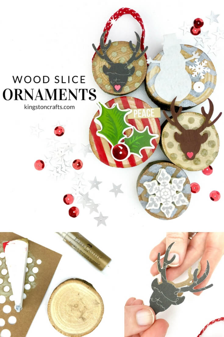 Xyron + Faber-Castell = Wood Slice Christmas Ornaments - The Kingston Home: Learn how to turn some plain wood slices into some festive Christmas ornaments that will be perfect for your tree! via @craftykingstons