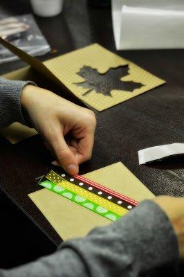 woman making handmade card