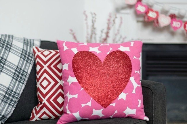 Valentine's Day pillow close up