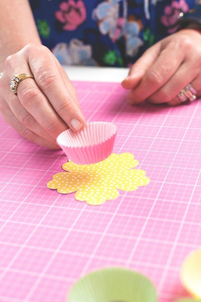 adhere flower die cuts to mini cupcake liners