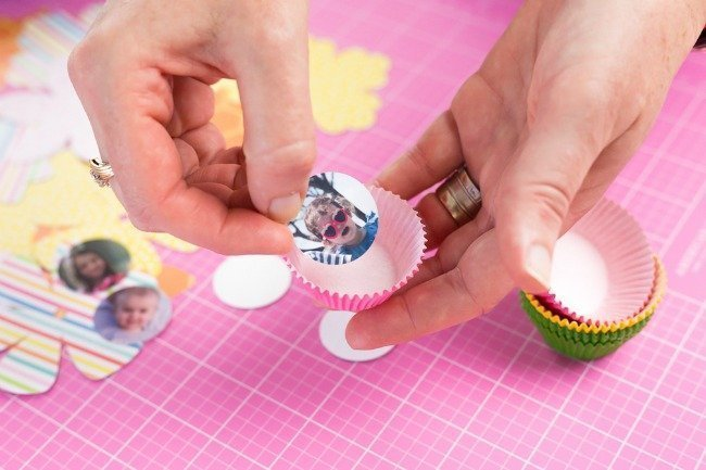 adhere to the center of mini cupcake liners