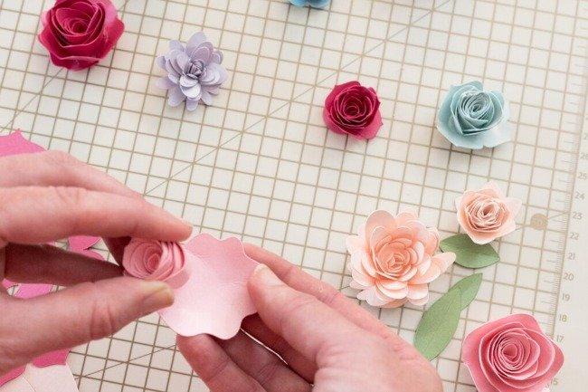 bend edges of paper flower