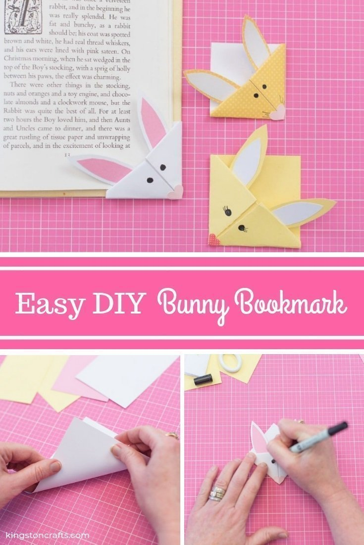 Easter Ideas for Kids: DIY Bunny Bookmark - The Kingston Home: Looking for some easy Easter ideas for kids? Learn how to create these DIY bunny bookmarks with just a few supplies and their imagination! via @craftykingstons