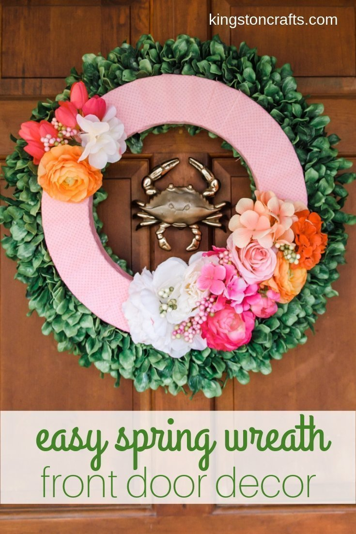 Easy Spring Wreath - The Kingston Home: Nothing says Spring is coming like the riot of colors you can find in the floral section of the craft store - today I'm making an easy Spring wreath perfect for your front door! via @craftykingstons