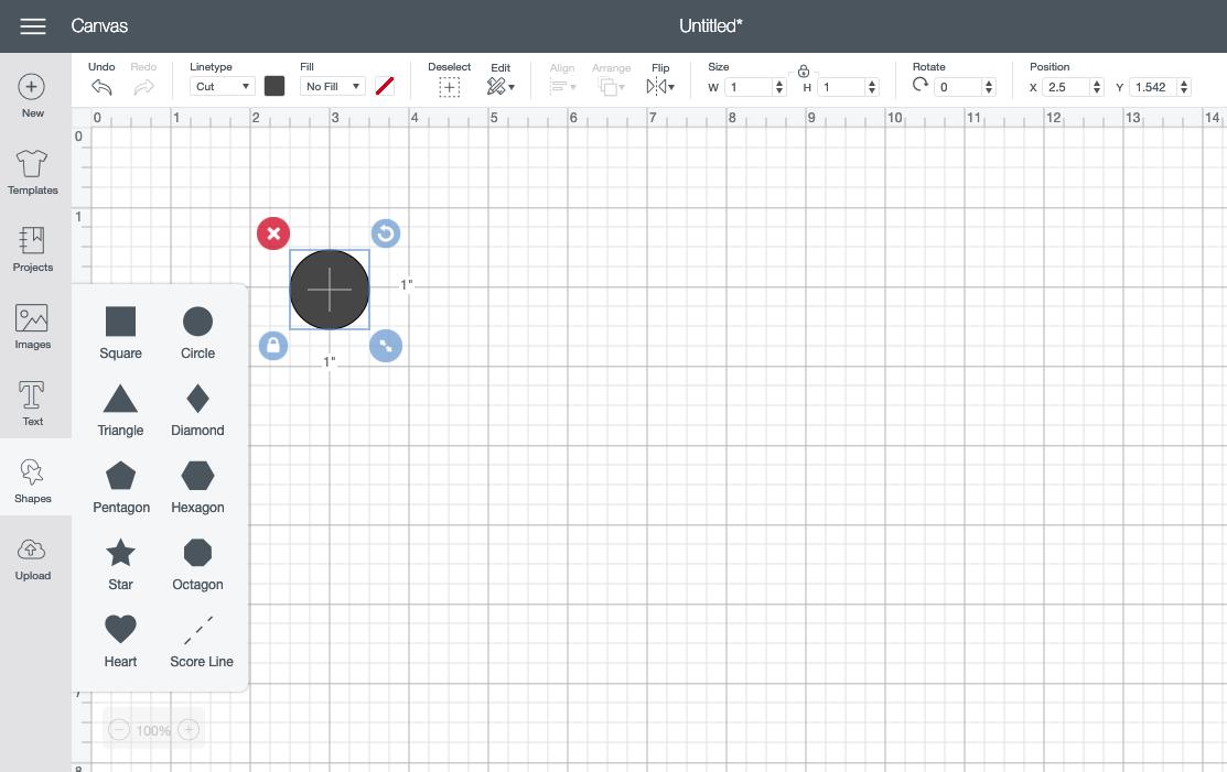 circle shape in Cricut Design Space