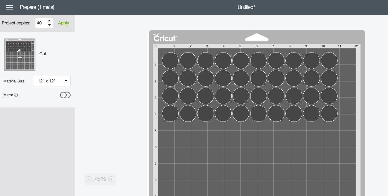 double the number of circles in Cricut Design Space