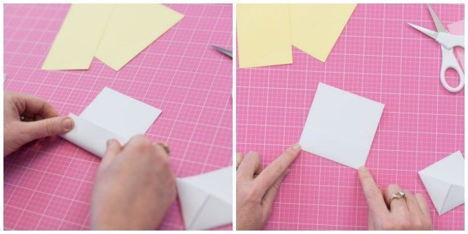 fold small sheet of white cardstock