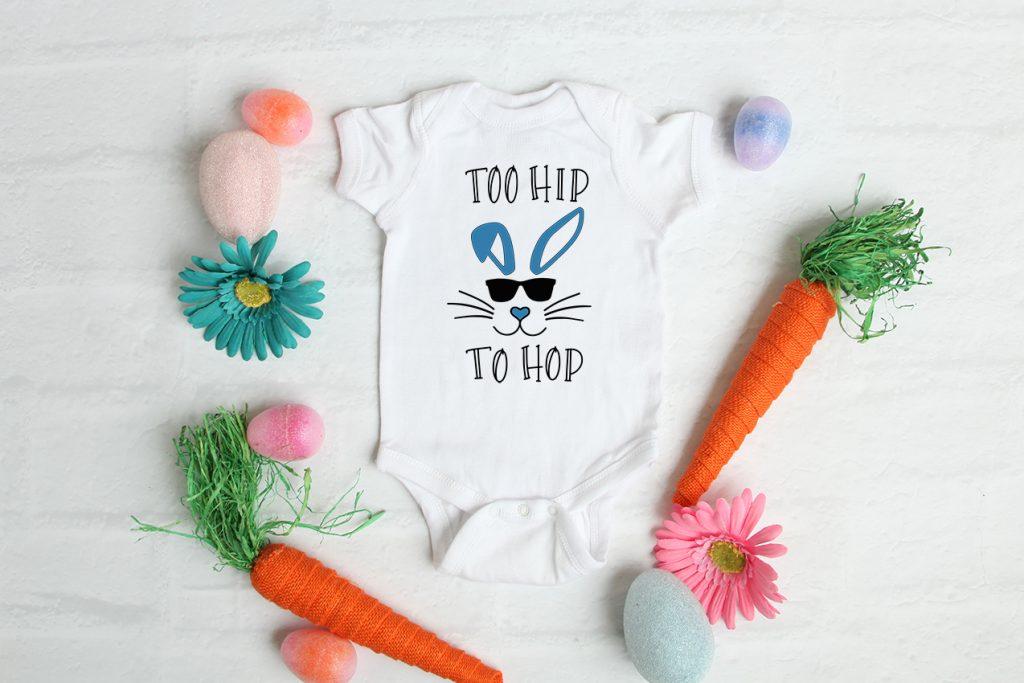 too hip to hop blue onesie