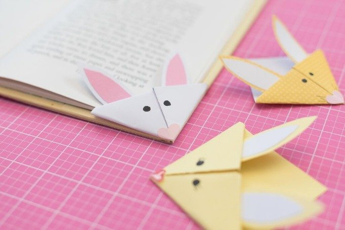 bunny bookmarks and books
