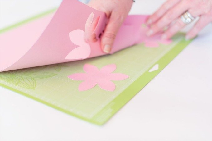 removing paper flower from Cricut mat