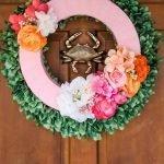easy spring flower wreath on front door