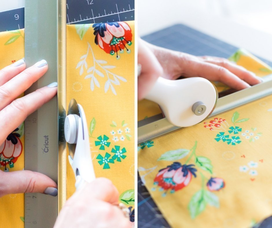 woman cutting fabric with Cricut Rotary Cutter