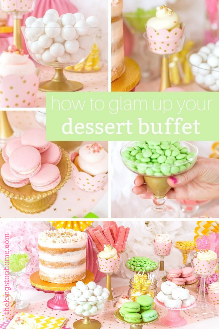 How to Glam Up your Dessert Buffet - The Kingston Home: Want to create a glamorous dessert buffet for your next event but don't want to spend a fortune? With a bottle of Plaid Crafts FolkArt Brushed Metal Acrylic Paint you can add a touch of gold to inexpensive containers and have the party of your dreams! via @craftykingstons