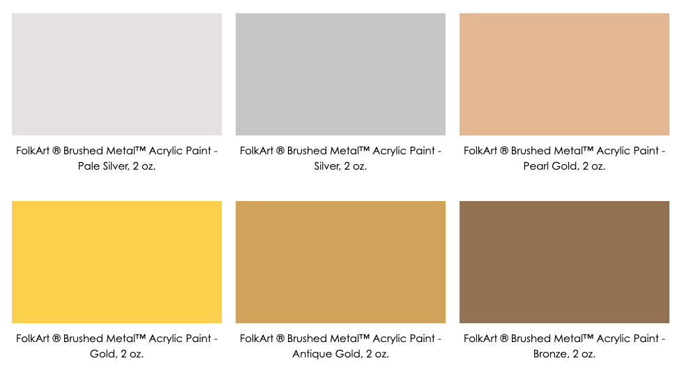 Plaid Crafts Brushed Metal Paint Colors - Kingston Crafts