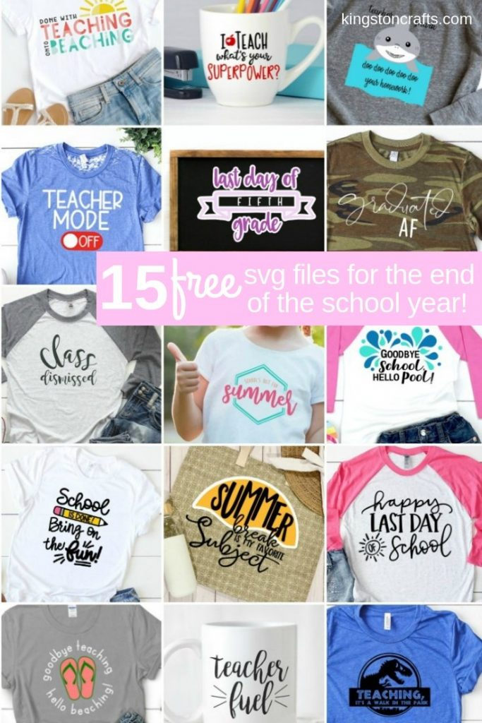 nine t-shirts with school themed sayings