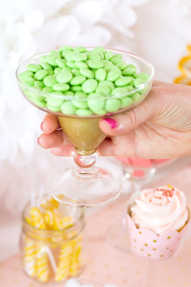 Gold painted margarita glass to hold candy on dessert buffet - Kingston Crafts