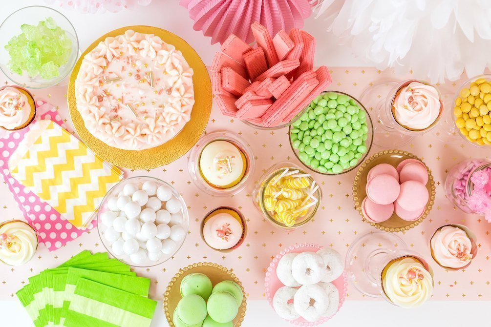 Gold and pink dessert buffet or candy table - Kingston Crafts