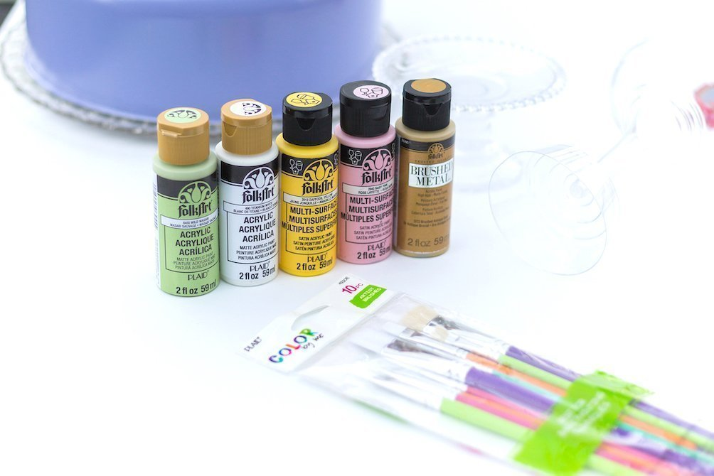 Supplies needed to paint dishes and glassware for dessert buffet - Kingston Crafts