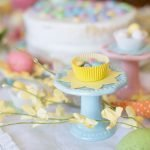 candy on bright spring Easter table
