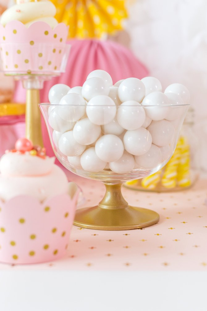 Painted gold bowl with white gumballs for dessert buffet or candy table - Kingston Crafts