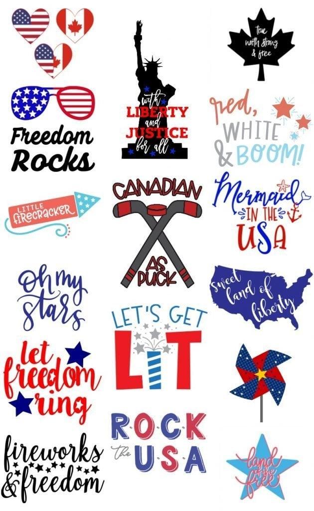 16 free patriotic svg files collage