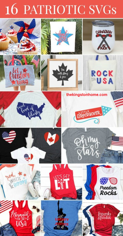 16 Patriotic SVGS - The Kingston Home: Calling all my military spouse friends and family, proud Americans, people who love the 4th of July - heck, calling everybody! Today I'm sharing 16 free svg files for creating patriotic shirts, tote bags and more. Let the celebrations begin! via @craftykingstons