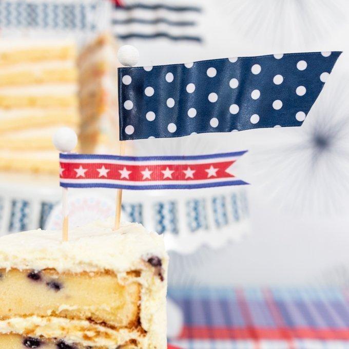 custom cake flag topper in cake