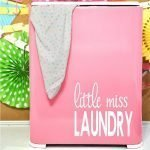 pink laundry hamper makeover with Cricut vinyl