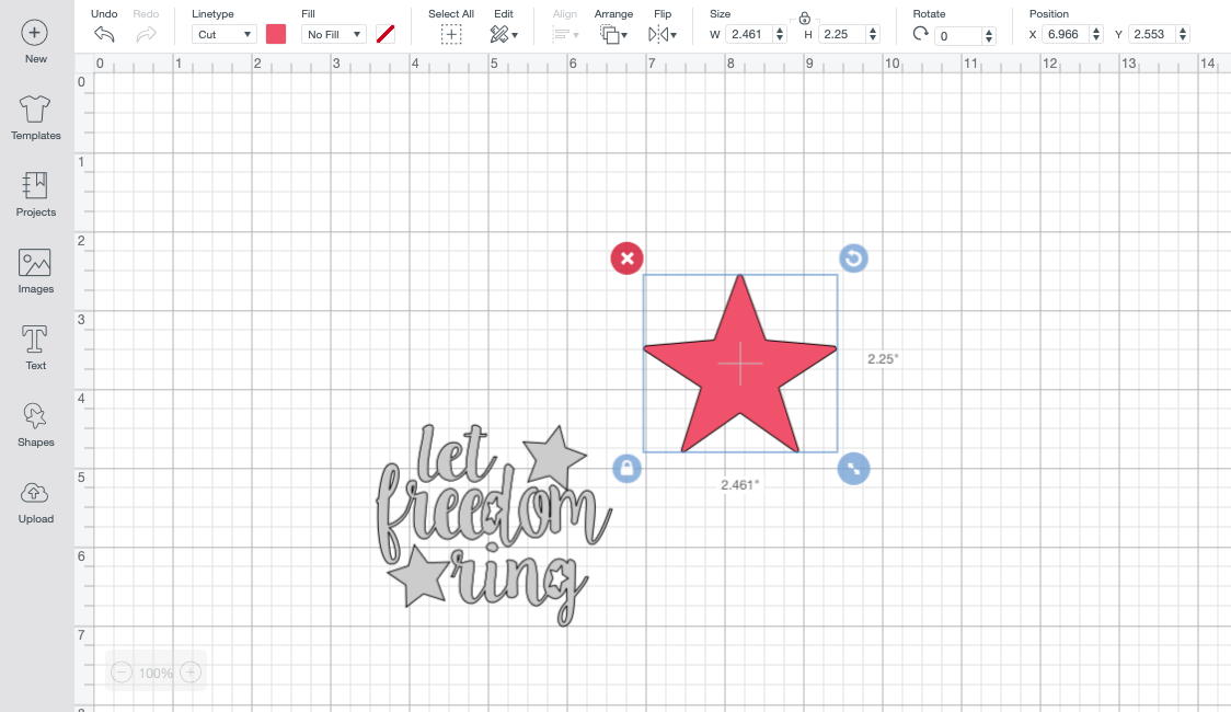 let freedom ring design in Cricut Design Space