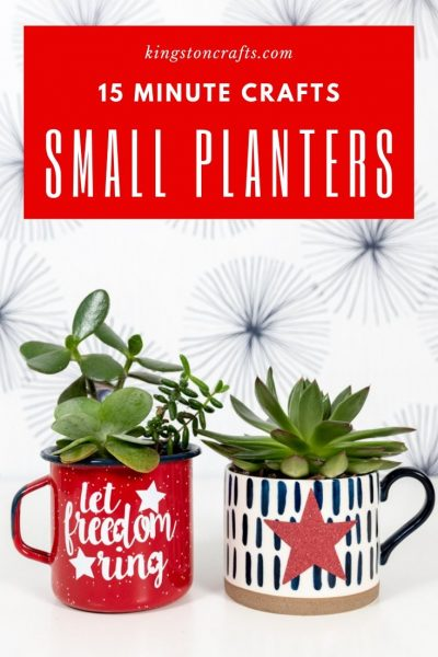 small planters made from mugs with patriotic SVG files