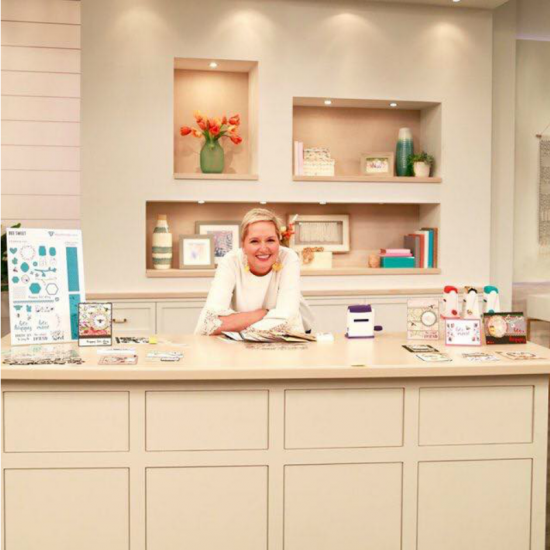 Beth Kingston leaning on a kitchen counter at the HSN studios