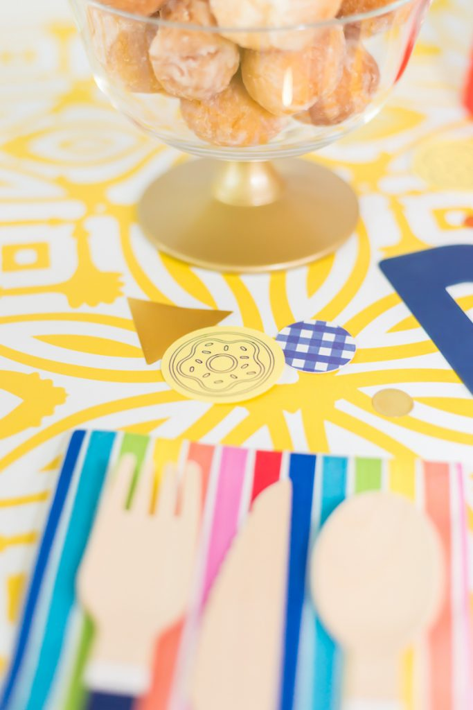 dounut confetti on table