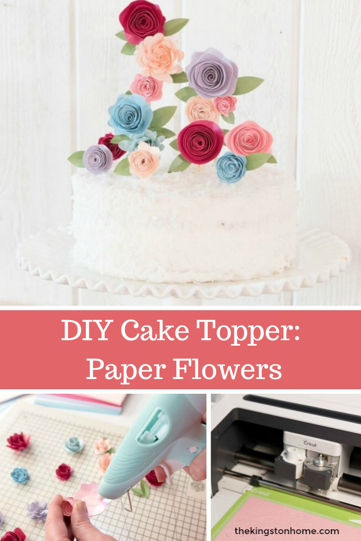 DIY Cake Topper: Paper Flowers - The Kingston Home: Learn how to create a unique paper flower cake topper that can be used to decorate almost any dessert! via @craftykingstons