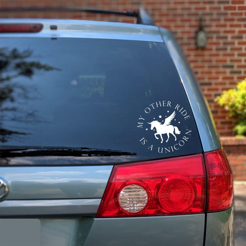 van with unicorn sticker