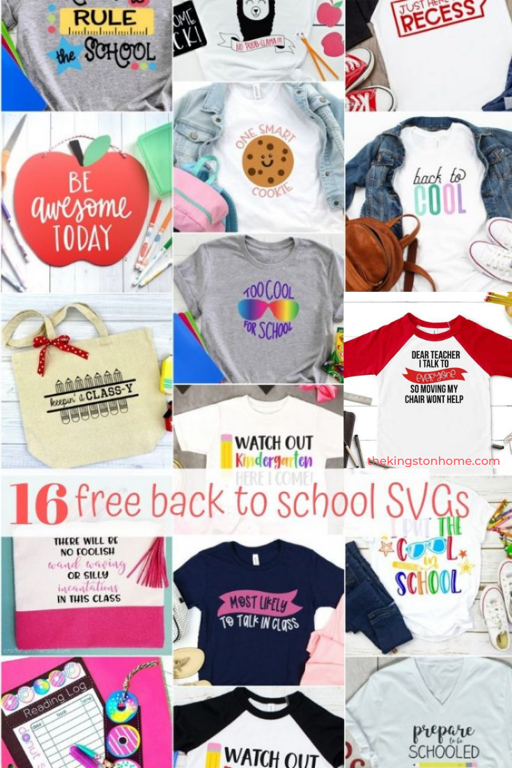 16 Free SVG Files: Back to School - The Kingston Home: How is it back to school time ALREADY?? Thankfully we've got 16 free SVG files to make this year's back to school a little more DIY and a lot more colorful! via @craftykingstons