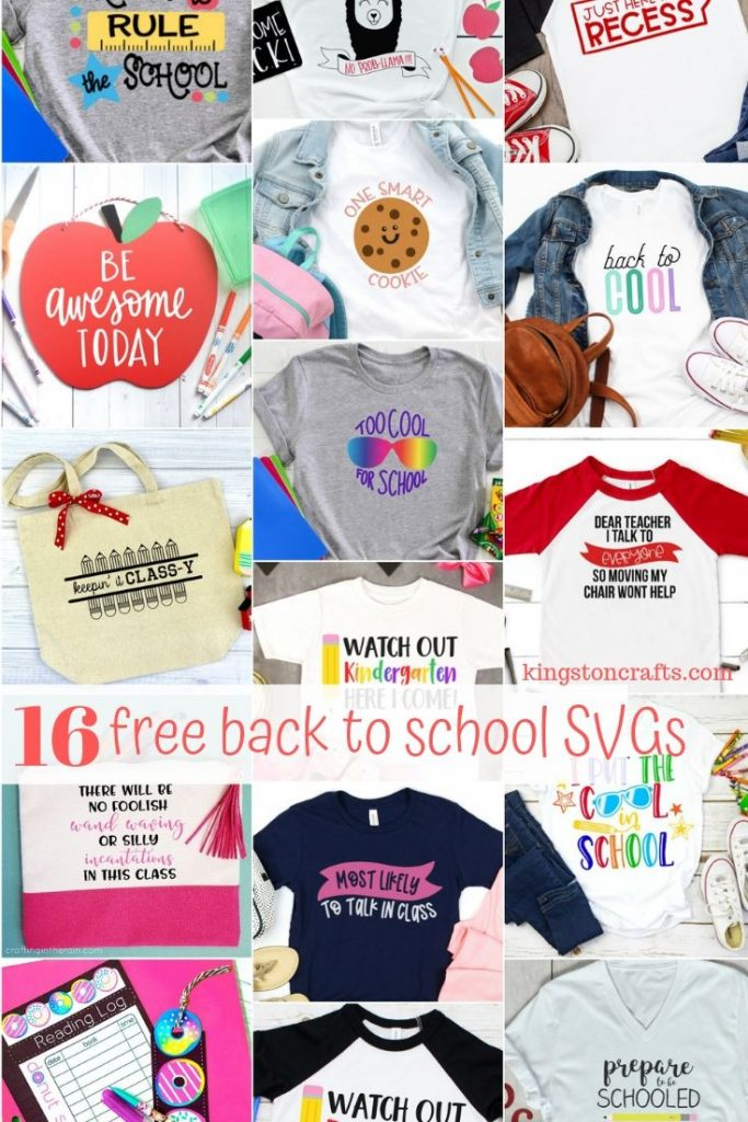 photo collage of school themed tshirts and tote bags