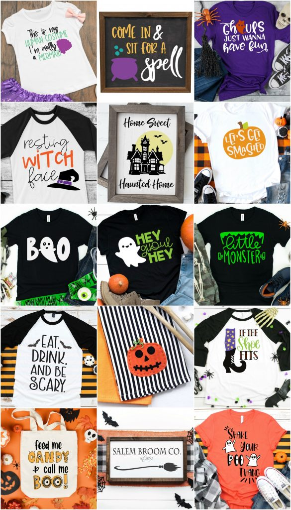 tshirts and tote bags with Halloween themed images